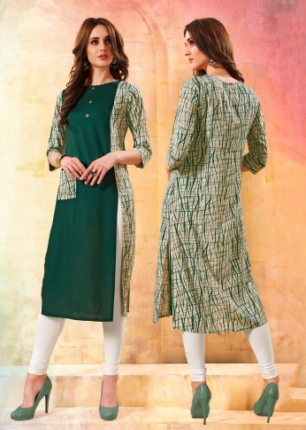 Printed Readymade Kurti In Dark Green and White Color Fabricated On Rayon