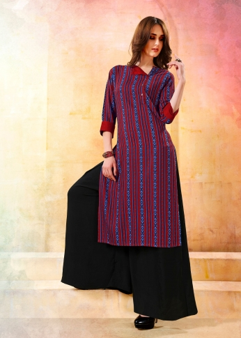 Printed Readymade Kurti In Red and Blue Color Fabricated On Rayon