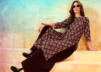 Printed Readymade Kurti In Brown and Orange Color Fabricated On Rayon