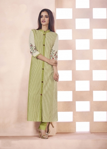 Elegant Looking Designer Readymade Straight Cut Kurti Light Green And Cream Color Fabricated On Weaving Cotton