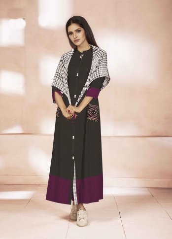 Readymade Kurti In Black And Wine Color Fabricated On Weaving Cotton