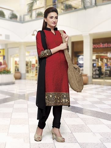 Printed Red and Black Coloured Crepe Silk & Chiddon Fabricated Salwar Suit