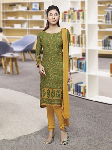 Printed Green and Mustured Yellow Coloured Crepe Silk & Chiddon Fabricated Salwar Suit