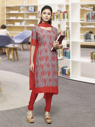 Printed Grey and Red Coloured Crepe Silk & Chiddon Fabricated Salwar Suit
