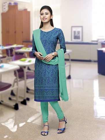 Printed Blue and Sea Green Coloured Crepe Silk & Chiddon Fabricated Salwar Suit