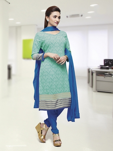 Printed Aqua Blue Coloured Crepe Silk & Chiddon Fabricated Salwar Suit