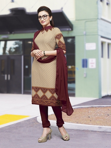 Printed Beige and Maroon Coloured Crepe Silk & Chiddon Fabricated Salwar Suit
