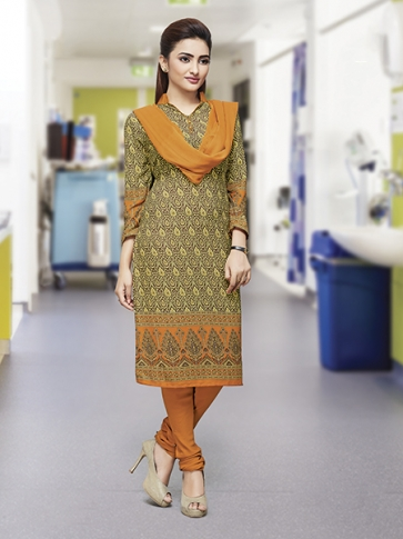 Printed Green and Musturd Yellow Coloured Crepe Silk & Chiddon Fabricated Salwar Suit