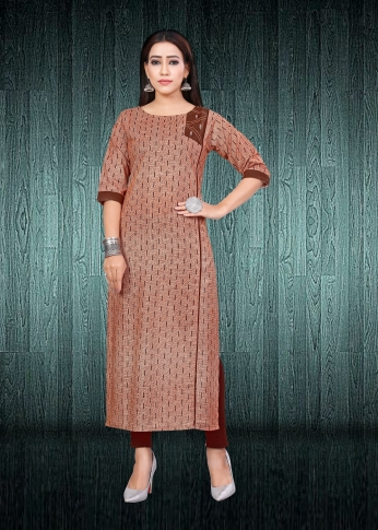Simple & Elegant Kurti Brown Colour Fabricated On South Cotton