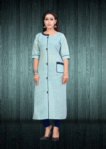 Simple & Elegant Kurti Sky Blue Colour Fabricated On South Cotton