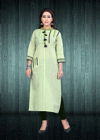 Simple & Elegant Kurti Green Colour Fabricated On South Cotton
