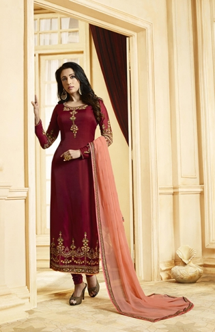 Designer Straight Suit Is Here In Maroon Color Paired With Contrasting Peach Colored Dupatta