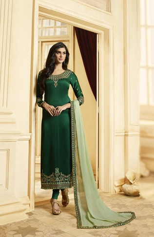 Designer Straight Cut Suit In Dark Green Color Paired With Contrasting Pastel Green Colored Dupatta