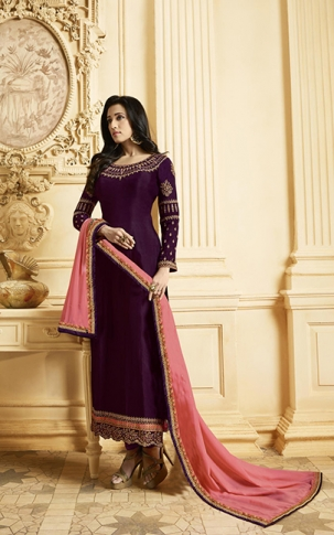 Designer Straight Cut Suit In Dark Purple Color Paired With Contrasting Pink Colored Dupatta
