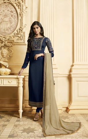 Designer Straight Cut Suit In Navy Blue Color Paired With Contrasting Beige Colored Dupatta