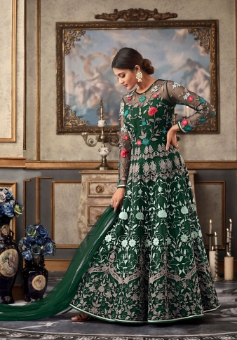 Dark Green Colour Designer Length Suit