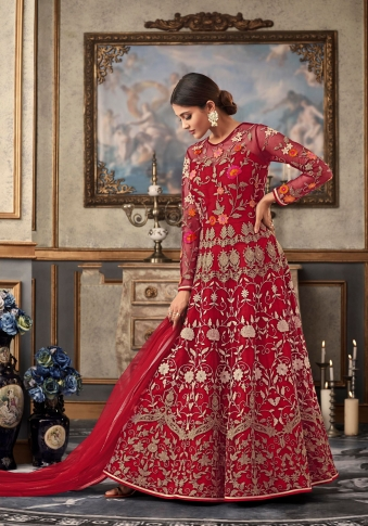 Red Colour Designer Length Suit