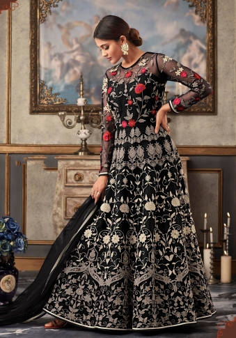 Black Colour Designer Length Suit