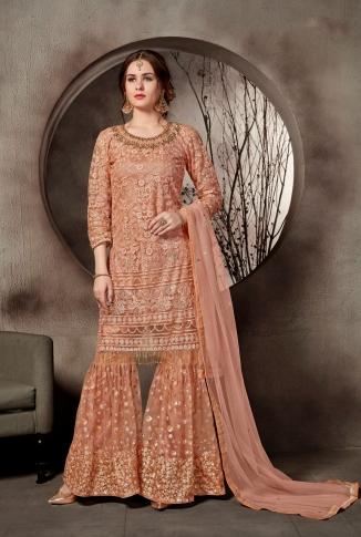 Heavy Designer Sharara Suit In Dark Peach Color