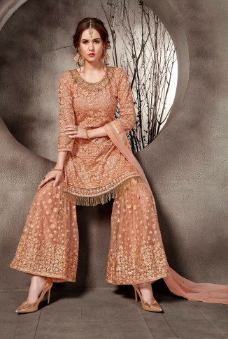 Heavy Designer Sharara Suit In Dark Peach Color 1
