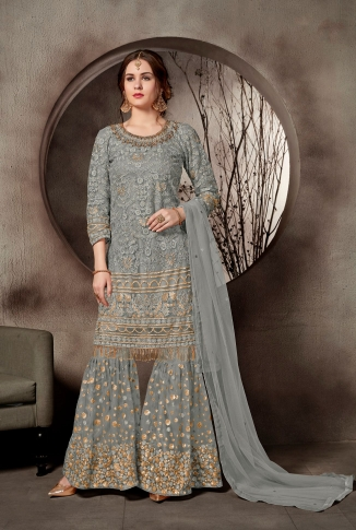Heavy Designer Sharara Suit In Grey Color