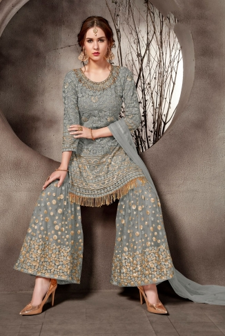 Heavy Designer Sharara Suit In Grey Color 1
