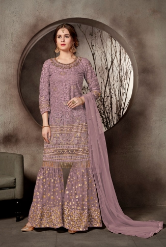Heavy Designer Sharara Suit In Mauve Color