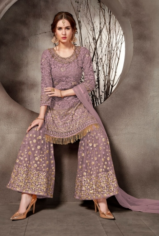 Heavy Designer Sharara Suit In Mauve Color 1