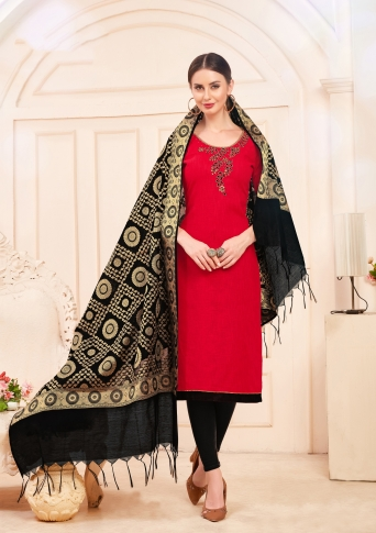 Designer Salwar Suit Top And Bottom With Dupatta Red And Black Colour
