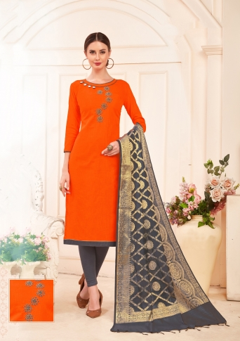 Designer Salwar Suit Top And Bottom With Dupatta Orange And Grey Colour