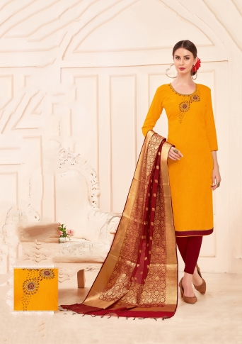 Designer Salwar Suit Top And Bottom With Musturd Yellow And Maroon Colour