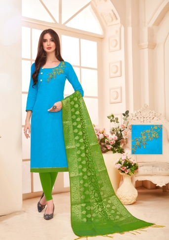 Designer Salwar Suit Top And Bottom With Parrot Green And Blue Colour