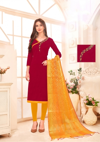 Designer Salwar Suit Top And Bottom With Maroon And Musturd Yellow Colour