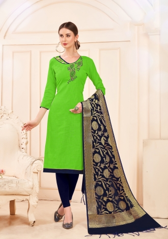 Designer Salwar Suit Top And Bottom With Parrot Green And Navy Blue Colour