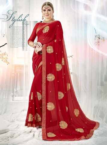 Red Fancy Georgette Saree with Zari Embroidery