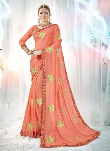 Dark Peach Fancy Georgette Saree with Zari Embroidery