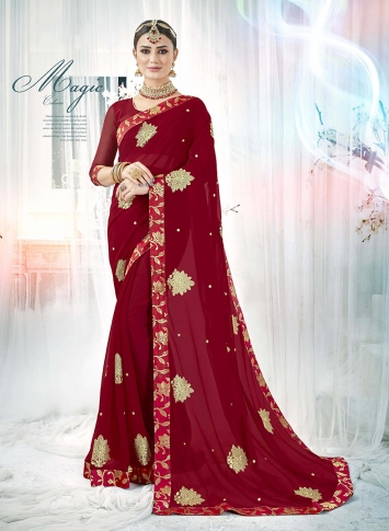 Maroon Fancy Georgette Saree with Zari Embroidery