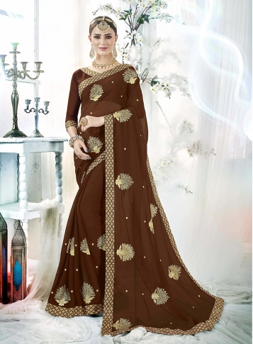 Brown Fancy Georgette Saree with Zari Embroidery