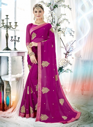 Magenta Pink Fancy Georgette Saree with Zari Embroidery