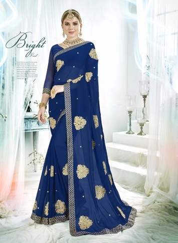 Royal Blue Fancy Georgette Saree with Zari Embroidery