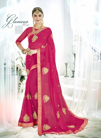 Dark Pink Fancy Georgette Saree with Zari Embroidery