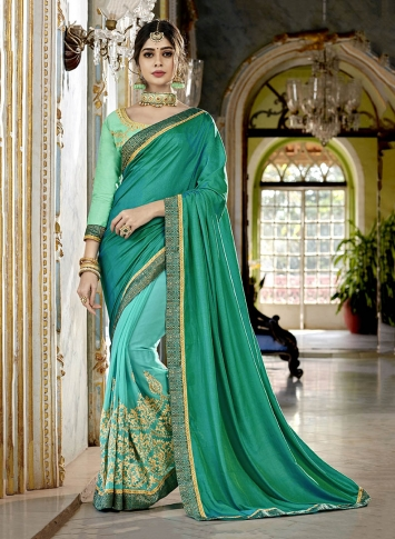 Fancy Vichitra Silk Georgette Saree in Teal Green & Turquoise Blue