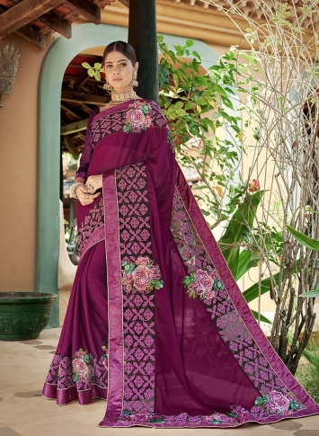 Designer Saree In Magenta Pink Color Paired With Magenta Pink Colored Blouse