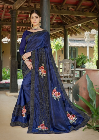Designer Saree In Dark Blue Color Paired With Dark Blue Colored Blouse