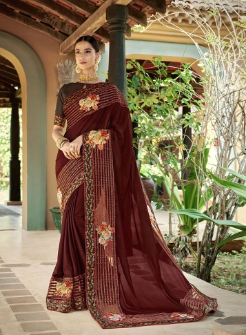Designer Saree In Brown Color Paired With Brown Colored Blouse