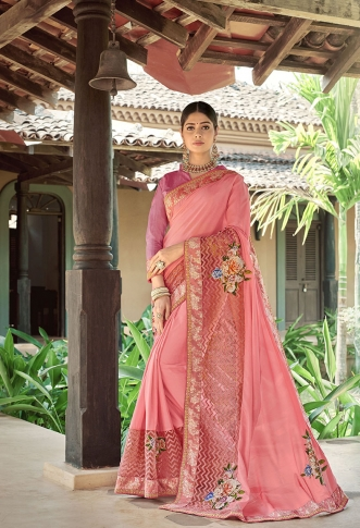 Designer Saree In Light Pink Color Paired With Brown Colored Blouse