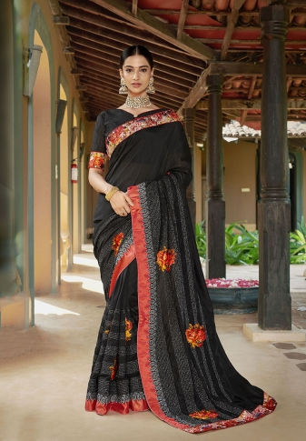 Designer Saree In Black Color Paired With Brown Colored Blouse