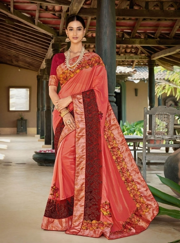 Designer Saree In Red And Orange Color Paired With Brown Colored Blouse