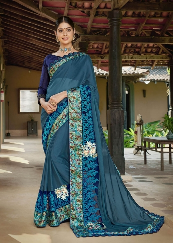 Designer Saree In Blue And Royal Blue Color Paired With Brown Colored Blouse