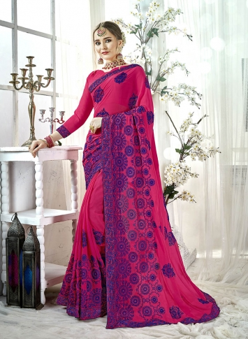 Fancy Georgette Saree In Rani Pink Color Paired With Rani Pink Colored Blouse